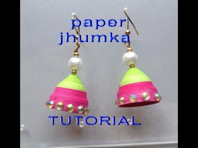 How to make paper jhumkas earring easy method design -1-Tutorial