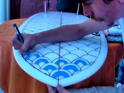 HOW TO PAINT A SURFBOARD #1 surf street art graffiti posca pens bombing markers pistache tutorial