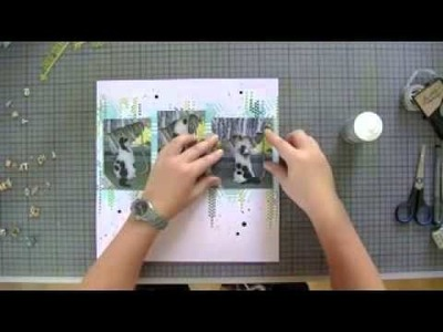 Layout background with stencils and distress inks| Scrapbook| Scrapbooking