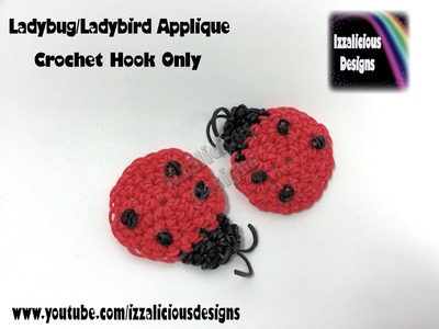 Rainbow Loom Ladybug.Ladybird Crochet Hook Only Applique - Loomless Amigurumi