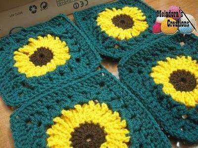 Sunflower Granny Square REVISED - Left Handed Crochet Tutorial