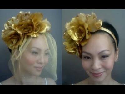 {TANYA} v.2 - How to make a Floral Birdcage Veil Headband : DIY Tutorial
