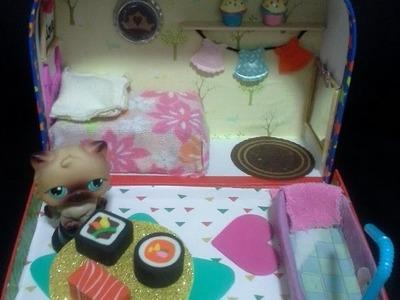 Vintage Littlest Pet Shop DIY Portable Dollhouse: Tour & Tutorial for Handmade Miniature Furniture