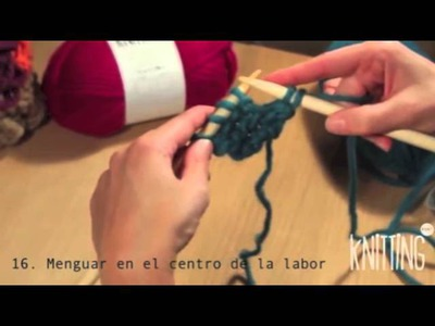 16. How to decrease a stitch in the middle of the row. Learn to knit with Knitting Point.