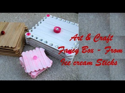 Art & Craft : How to Make Beautiful Box colourful using Icecreme sticks - craft tutorial