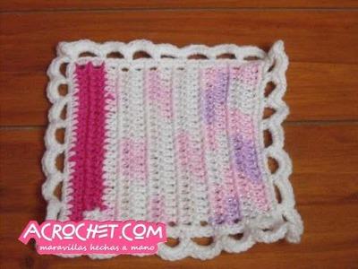 Cenefa cadenetas y medios puntos a crochet
