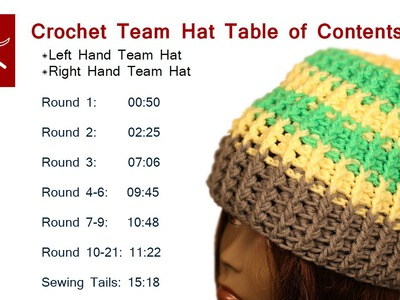 Crochet Team Hat - Table of Contents