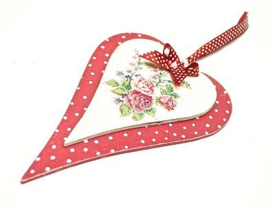 Decoupage hearts in dots -  tutorial decoupage DIY