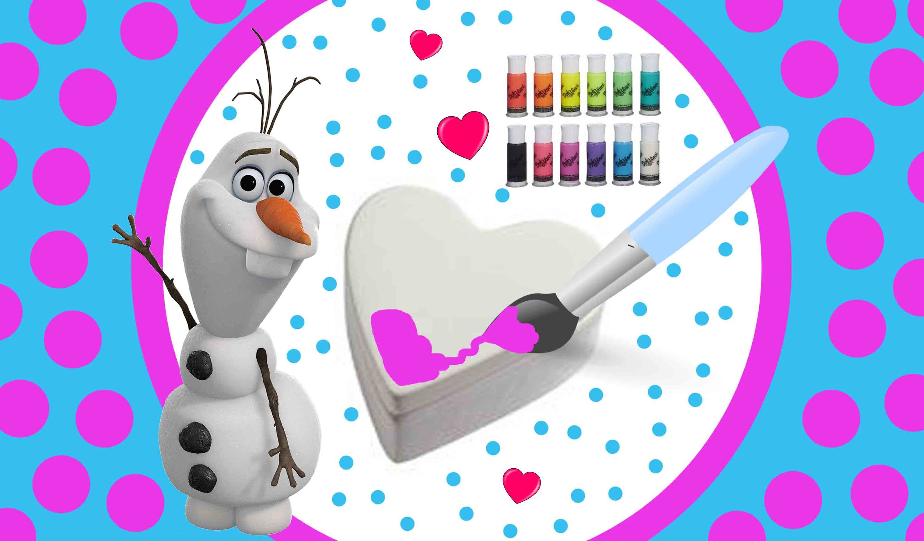Disney Frozen Olaf DohVinci Doh DIY Heart Shaped Ceramic Craft Disney Frozen Mystery Minis Elsa