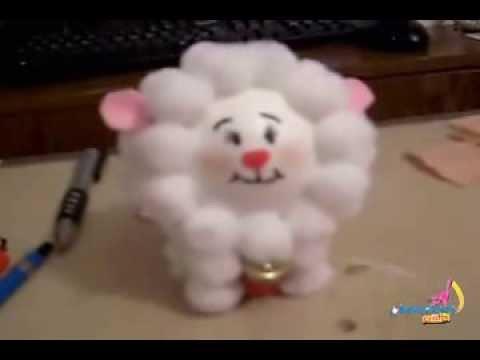DIY How to make a sheep with pompoms,Christmas ornament