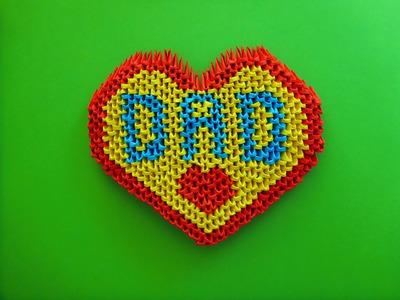 "DIY Origami 3D Herz ""DAD"" Geschenk zum Vatertag, Father´s day Gift Ideas Heart Tutorial Anleitung"