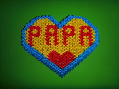 """DIY Origami 3D Herz """"PAPA"""" Geschenk zum Vatertag, Geburtstag, Father´s day Gift Ideas Heart Tutorial"""