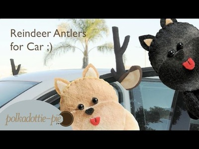 DIY Reindeer Antlers for Car - PolkadottiePie Felt Craft Tutorial