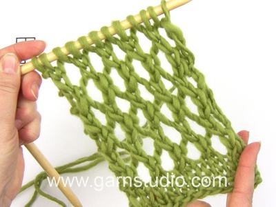 DROPS Knitting Tutorial: How to work an easy lace pattern used in DROPS 159-3