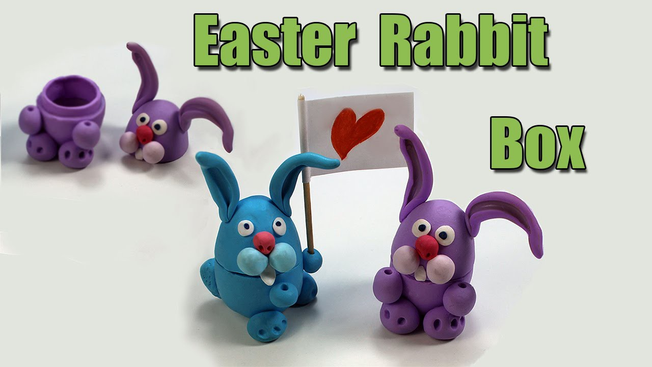 Easter Rabbit gift box.  DIY - Polymer clay tutorial.