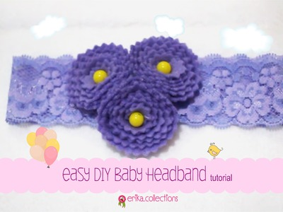 Easy DIY Baby Headband Tutorial [Purple Flower] - Erika Felt. Flanel Craft