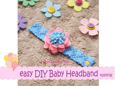 Easy DIY Baby Headband Tutorial [Pink Blue] -Erika Felt. Flanel Craft