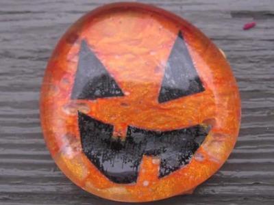 Glass Pumpkin Stones with Nail Polish Craft Tutorial