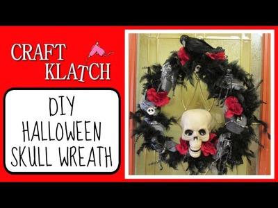 Halloween Skull Wreath DIY Craft Klatch Dollar Store Craft Halloween Series