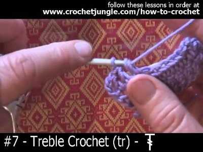 How to do a treble crochet stitch (tr) - tutorial #7 LEFT HANDED