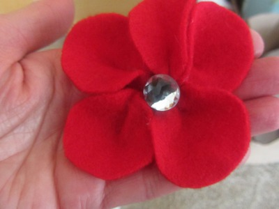 How to Make a Felt Flower with Bling Center Embellishment Craft Tutorial