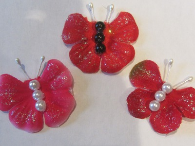How to Make Butterflies Embellishment with 5 Petal Flower  Craft Tutorial