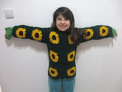 Sunflower Granny Sweater - Left Handed Crochet Tutorial