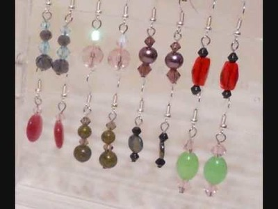 64 pairs of earrings Lot#1 - Glass, Gemstones and Shell beads
