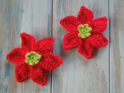 (crochet) How To Crochet a Mini Poinsettia - Yarn Scrap Friday