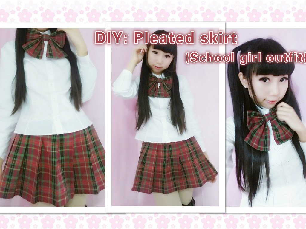 DIY - How to make cute school girl outfit - pleated skirt(side pleats)