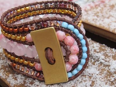 Five row wrap bracelet with beaded loop closure - tutorial