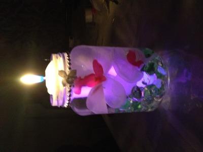 Glowing Center piece mason jar with floating candle centro de mesa luminoso vela flotante