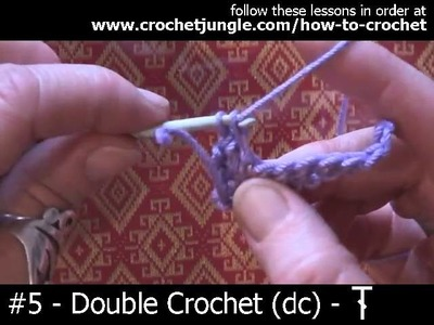 How to do a double crochet stitch (dc) - tutorial #5 LEFT HANDED