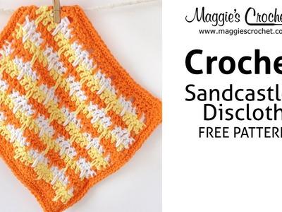 Sandcastles Dishcloth Free Crochet Pattern - Right Handed