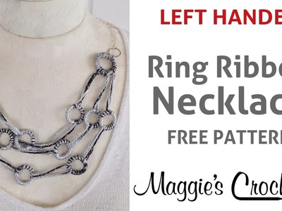 Spangle Ring Ribbon Necklace Free Pattern (No Knit, No Crochet) - Left Handed