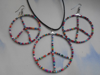 Tutorial on How to Make a Beaded Peace Sign Pendant, Necklace or Earrings