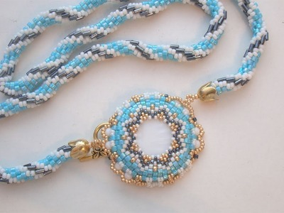 BeadsFriends: Beaded Necklace - Mother of pearl disc bezeled with beads and crochet rope