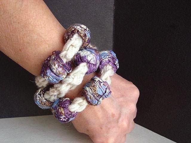 Crochet a  papier mache bead bracelet.