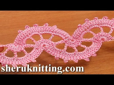 Crochet Lace Stitch Tape Tutorial 6 part 1 of 2 Crocheted Lace