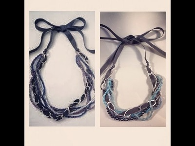 DIY: Bead, Chain & Ribbon Necklace ♡ Theeasydiy #FashionDIY