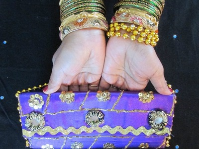 DIY: DESIGNER PURSE WITH MIRRORS SEQUINS AND BEADS.