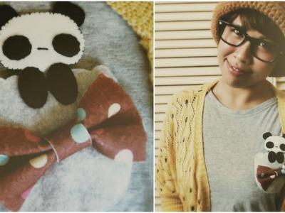 DIY Fashion: Felt Peeking Panda Pocket Tutorial (Upcycle Old Shirts)