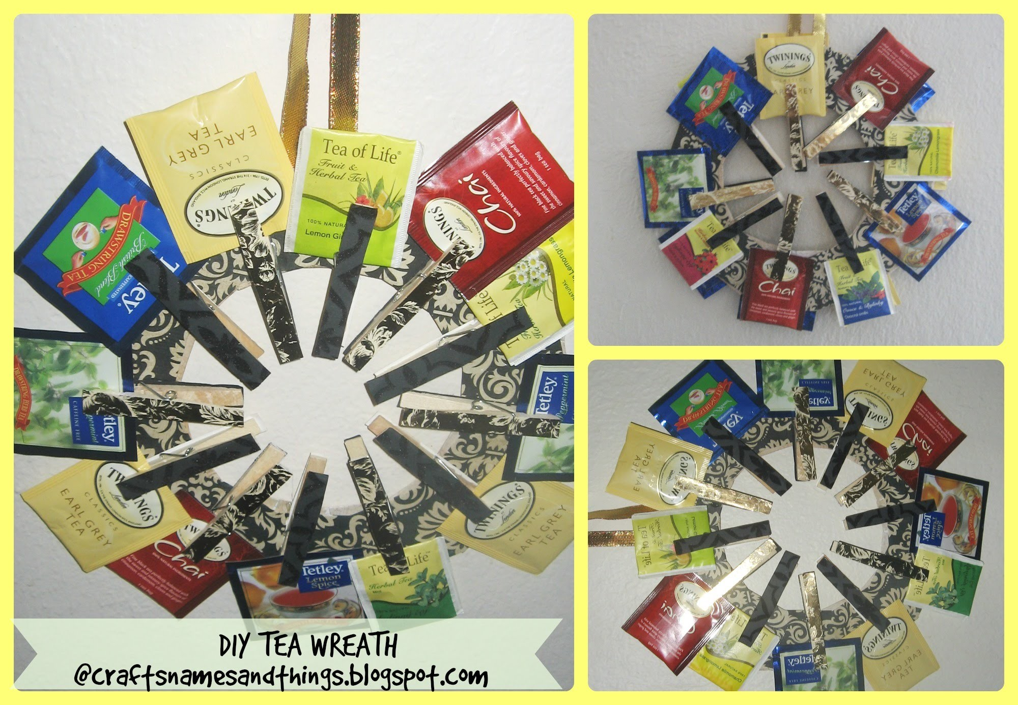 DIY Gifts Under $10. DIY Tea Wreath. How to make a Tea Wreath. tutorial - How to-