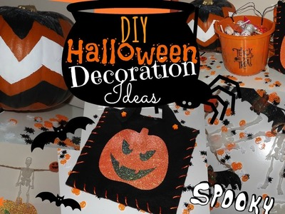 DIY Halloween Decoration Ideas! - Chevron Pumpkin, Spooky Garland & Trick or Treat Bag