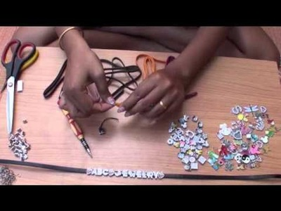 DIY How to make slideletter Mobile phone strap www.ABC-JEWELRY.com