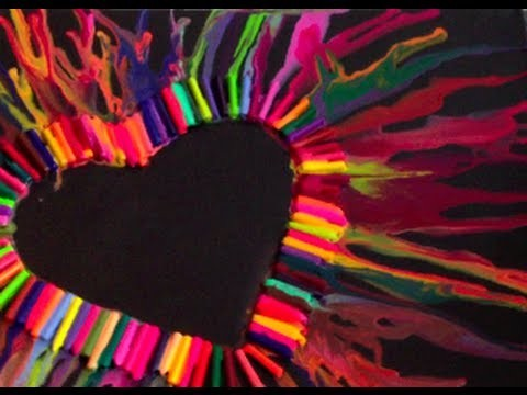 DIY: Melted Crayon Heart Art  ♡ Theeasydiy #ArtForTheNonArtist