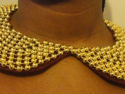 DIY Peter Pan Collar Necklace. Pearl Beaded Collar Necklace