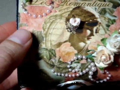 Graphic 45 Le Romantique Teenie Weenie Mini Scrapbook Album Inside An Altered Wood Box