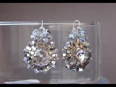 Half Tila Earrings Pendant Tutorial - Silver Sun Earrings by Sidonia's handmade jewelry