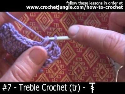 How to do a treble crochet stitch (tr) - tutorial #7